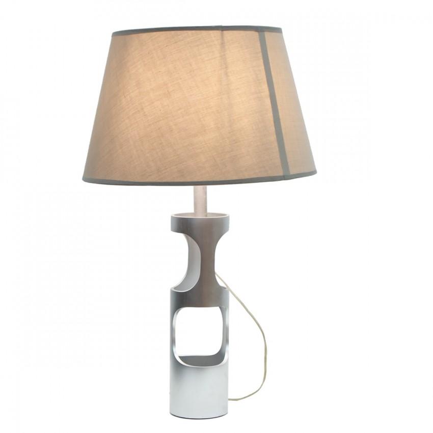 Lampe cylindrique en aluminium brossé des années 1970