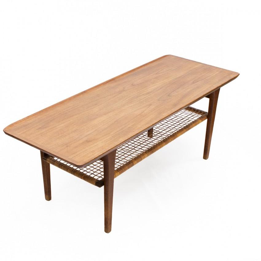 Table basse danoise rectangulaire en teck des années 1960 éditée par Mobelintarsia