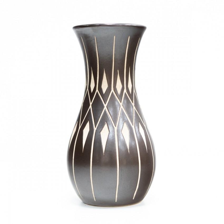 Vase noir et blanc en céramique de Piesche & Reif