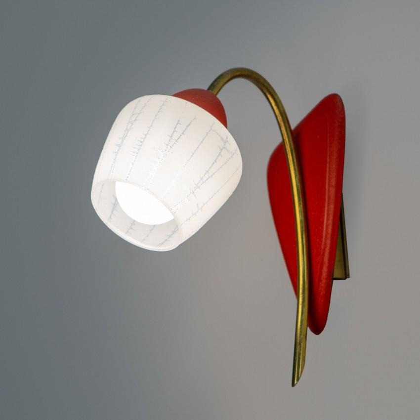 Applique tulipe rouge et dorée des années 1950