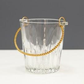 Seau à glaçons en verre et métal doré des années 1950