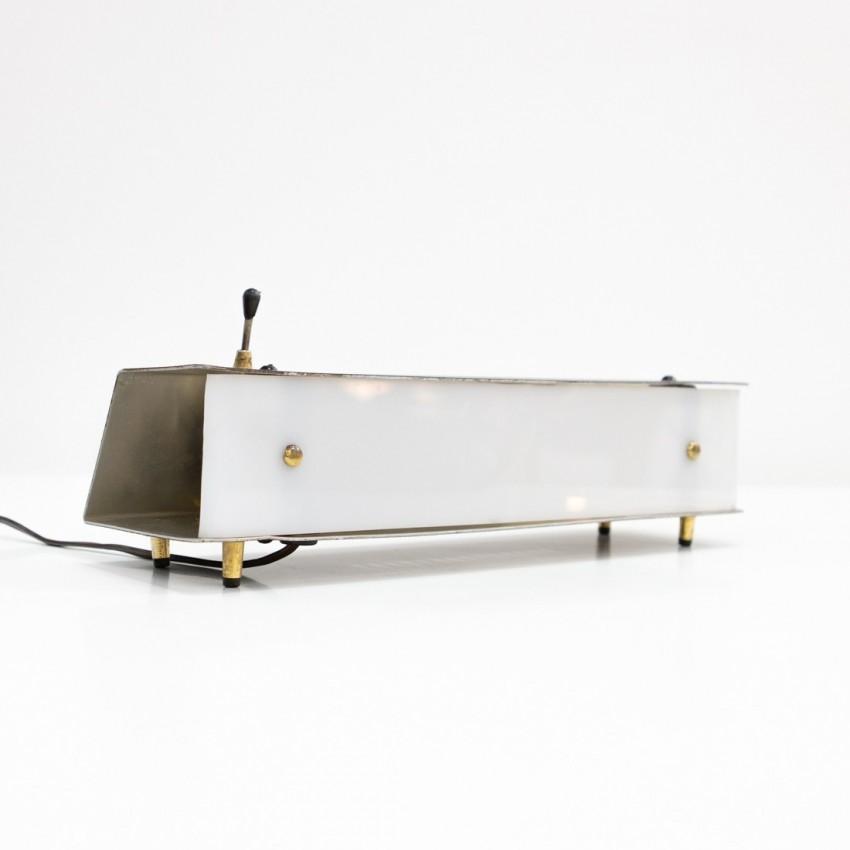 Lampe d'appoint en tôle et plexiglas de Raymond Monedi