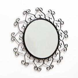 Miroir rond en fer forgé - Dentelles vintage