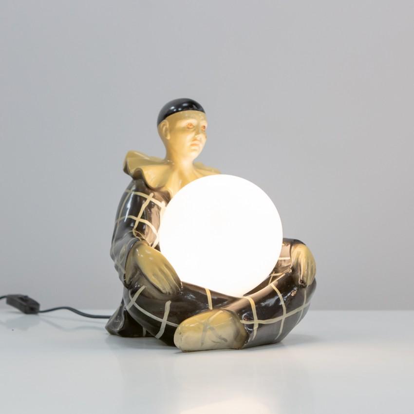 Lampe Pierrot vintage en plâtre