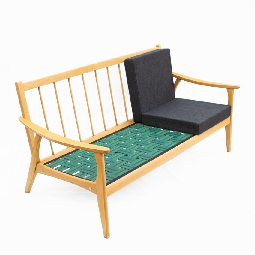 Canapé trois places en bois des années 1960