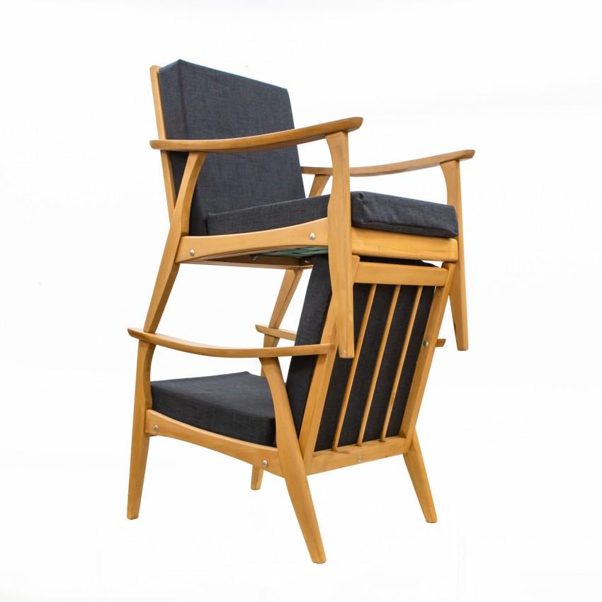 Paire de fauteuils de salon des années 1960 en bois