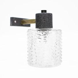 Applique en verre taillé et laiton des années 1950