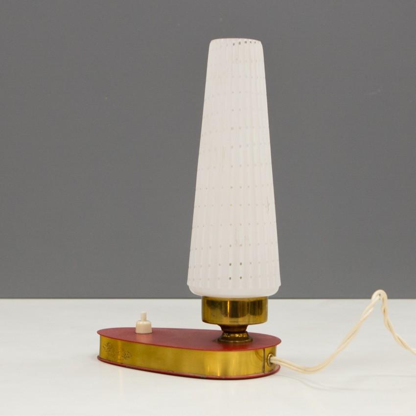 Lampe de chevet métal rouge et laiton