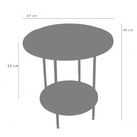 Table basse à deux plateaux Formica et laiton