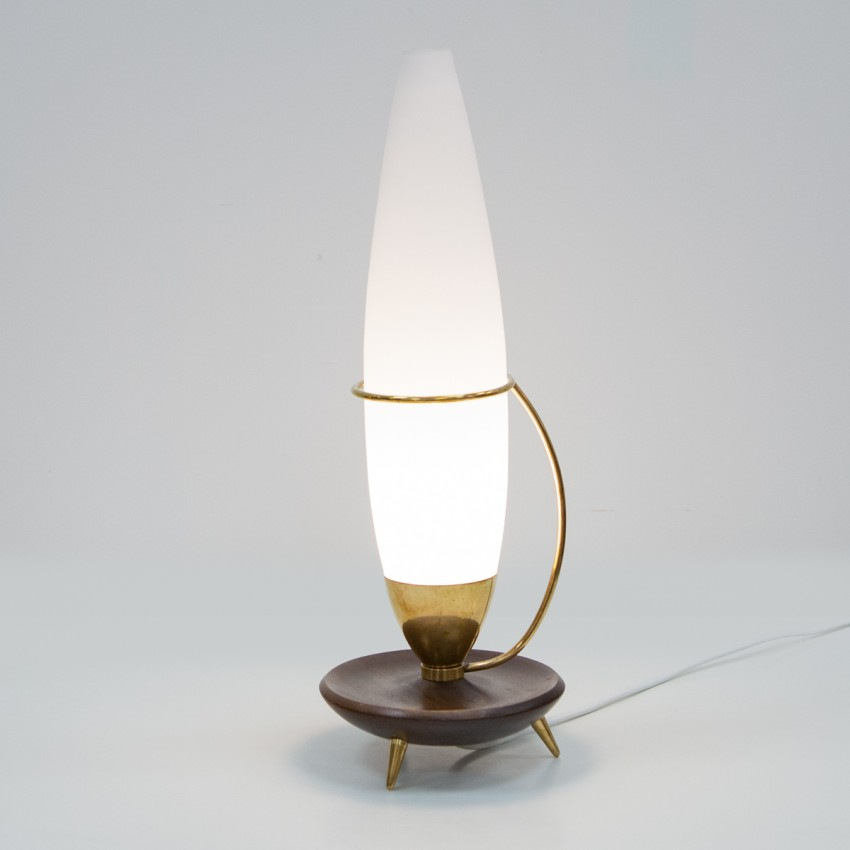 Lampe tripode en bois, verre et laiton des années 1960