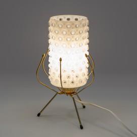 Lampe tripode en verre bullé et laiton des années 1950