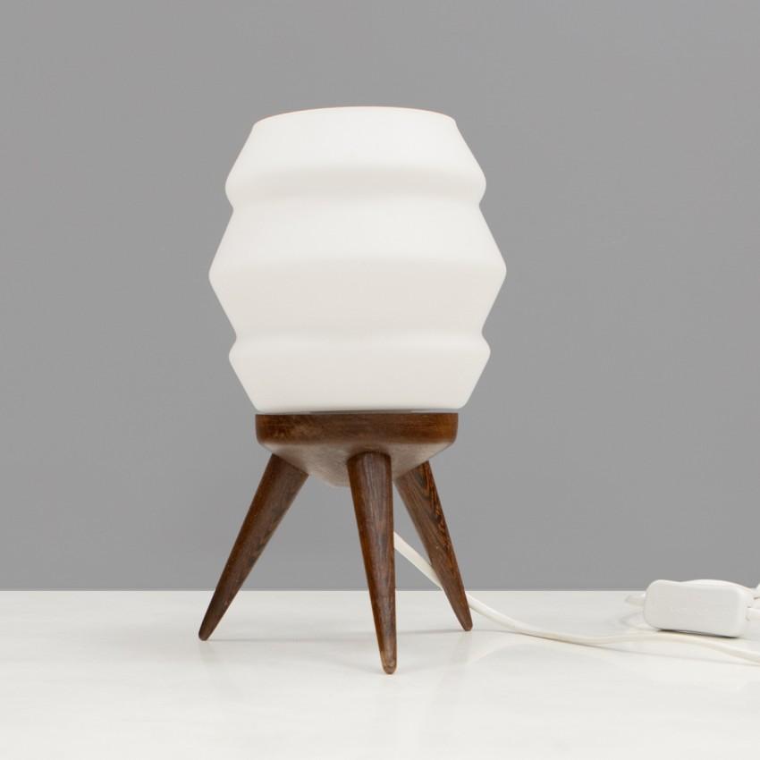 Lampe tripode en verre et bois - Philips
