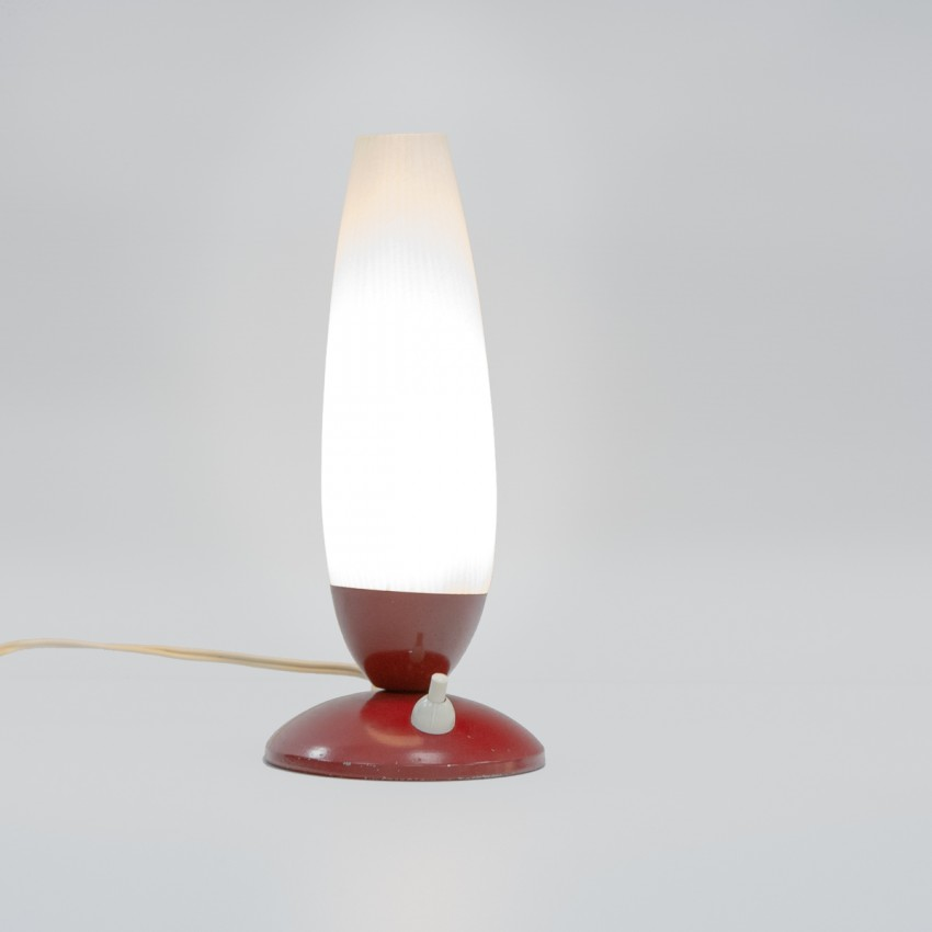 Lampe d'appoint des années 1950 à verrerie opale