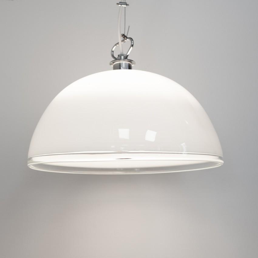 Suspension en verre opale pour ampoule à calotte argentée