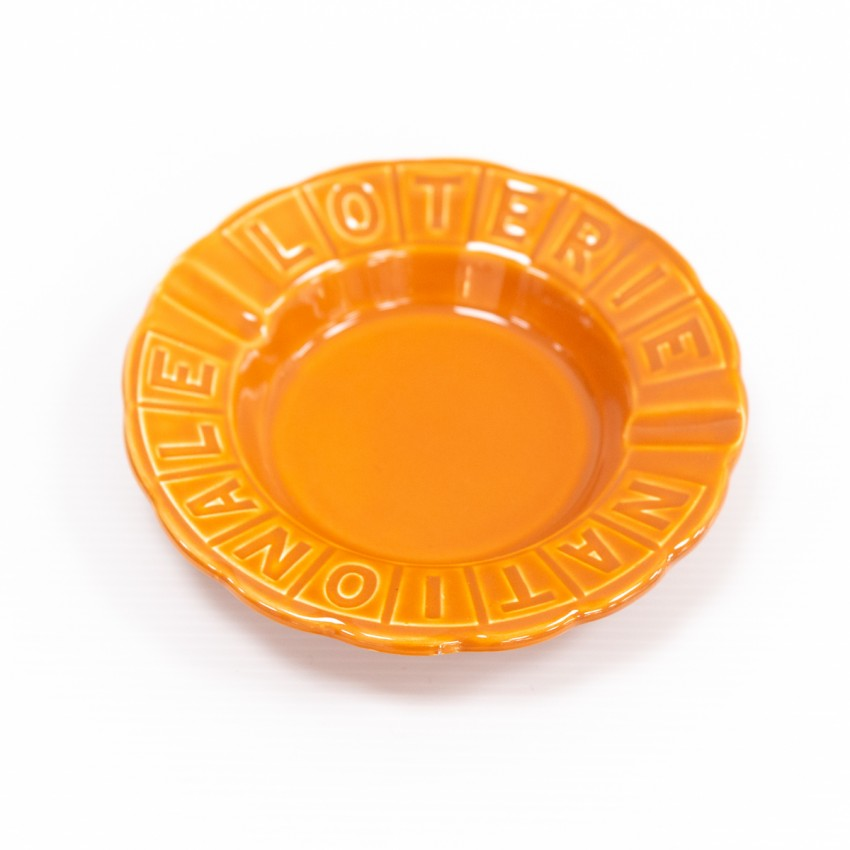 Cendrier orange de la Loterie nationale - Porcelaine de Gien