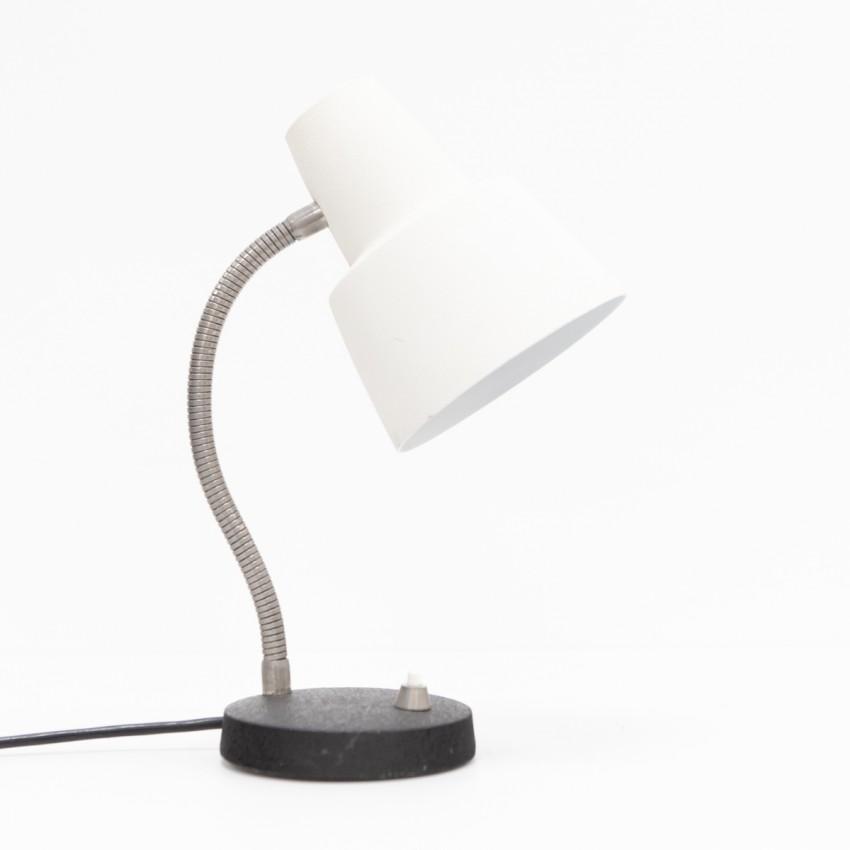 Lampe de chevet à spot des années 1960 en métal noir et blanc