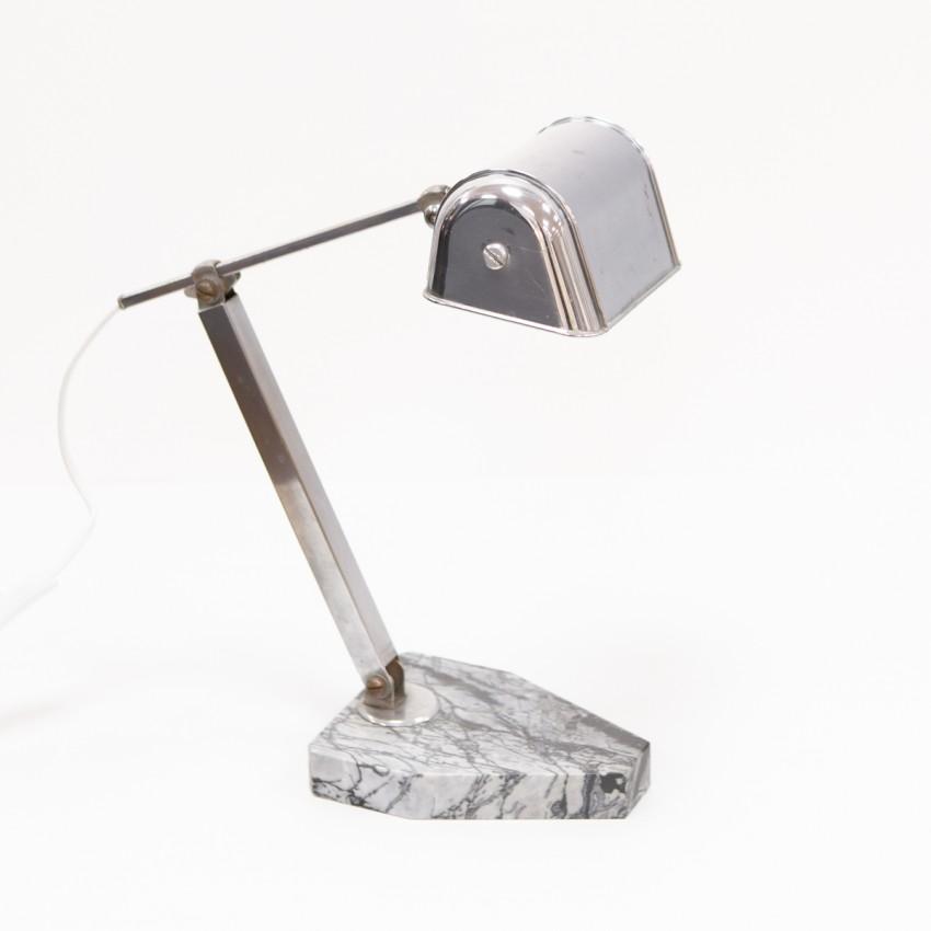 Lampe de bureau télescopique à socle en marbre de l'Artisanat Français