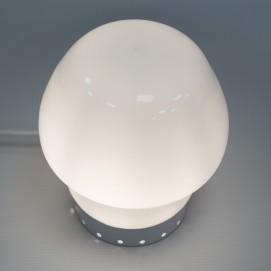Lampe champignon en verre opale et tôle perforée des années 1960