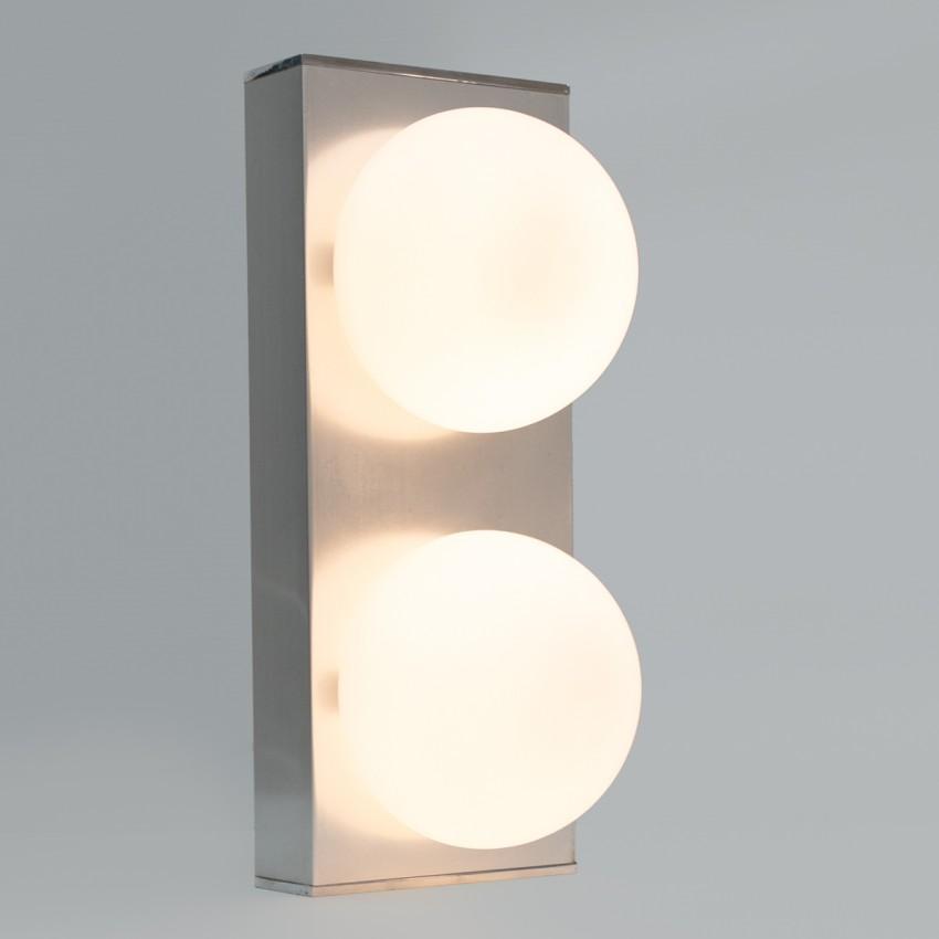 Applique parallélépipédique en aluminium et verre satiné des années 1970
