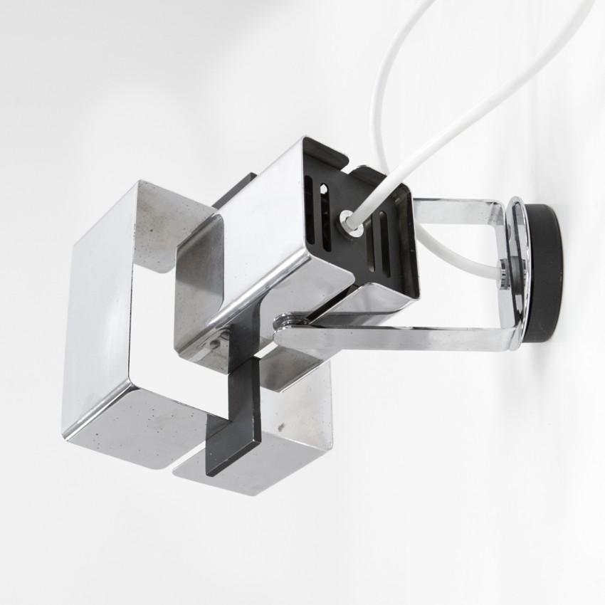 Applique à spot orientable en métal chromé de Max Garnault éditée par Pierre Disderot