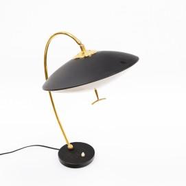 Lampe de bureau orientable des années 1950 en métal, laiton et Plexiglas opale