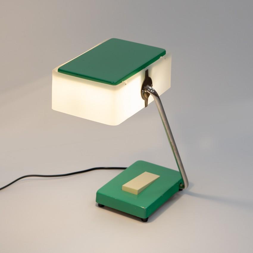 Lampe de bureau parallélépipédique en métal et plexiglas des années 1970