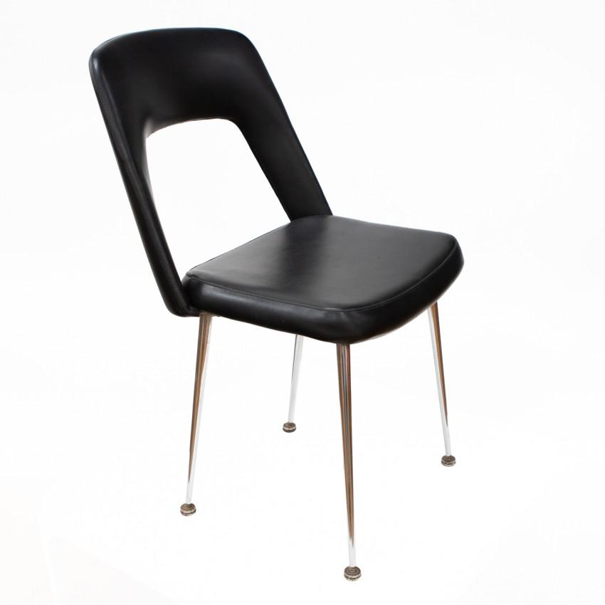 Chaise de bureau en Skaï noir et piètement chromé des années 1960