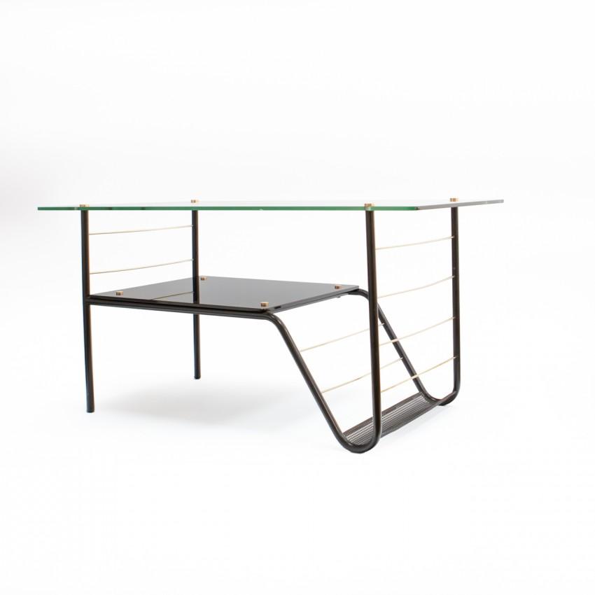 Table basse et porte-revue en tube, laiton et opaline noire, des années 50