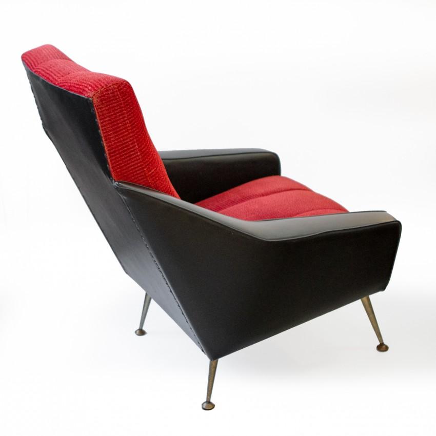 Fauteuil en Skaï noir et velours rouge