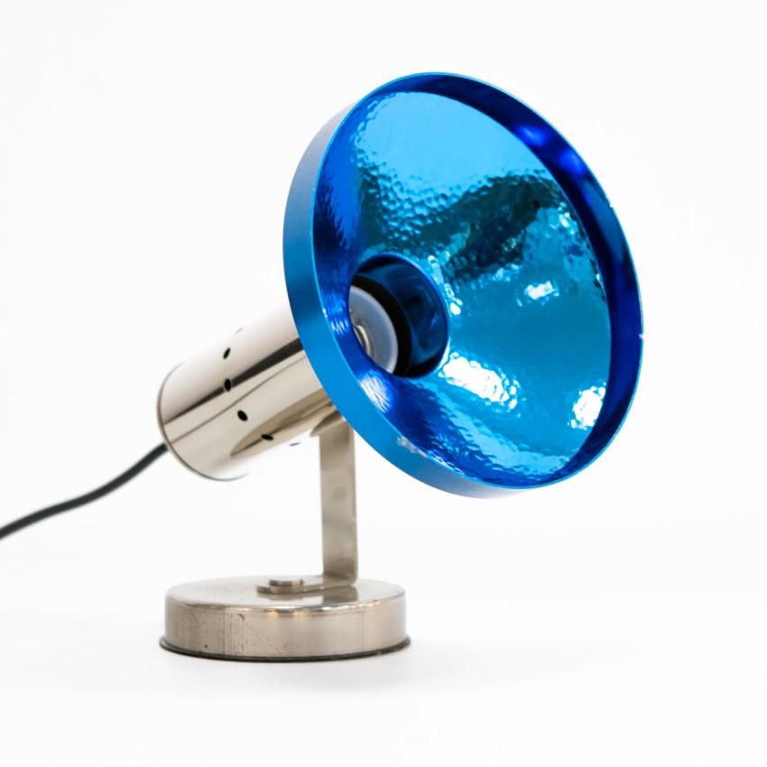 Spot à poser réflecteur bleu des années 1970