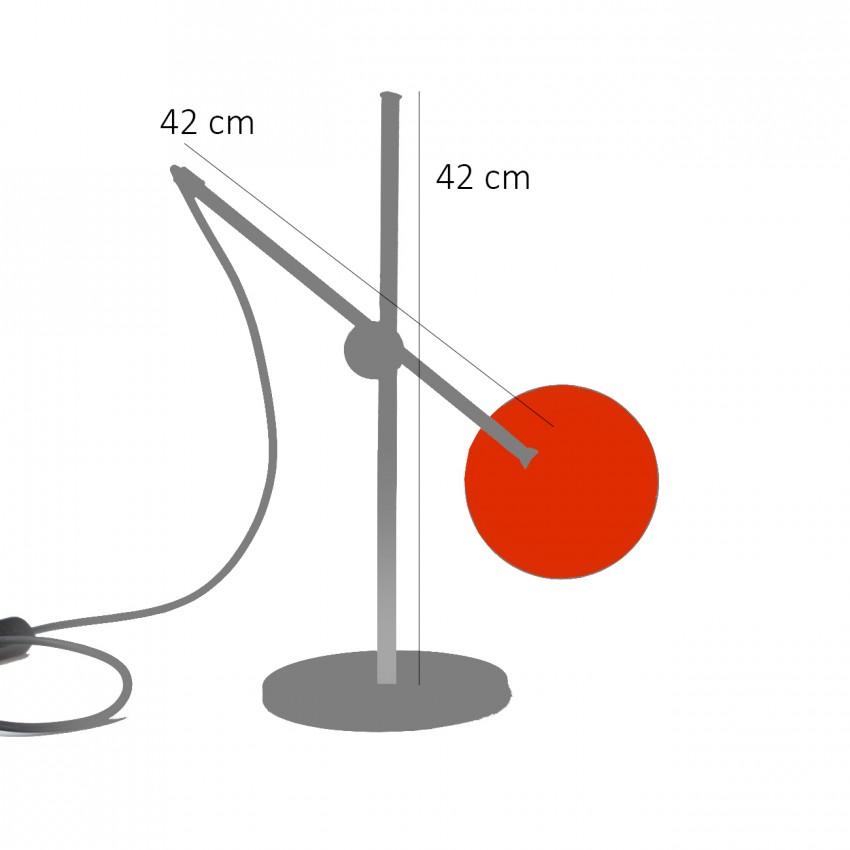 Lampe de bureau articulée orange et chrome des années 1960