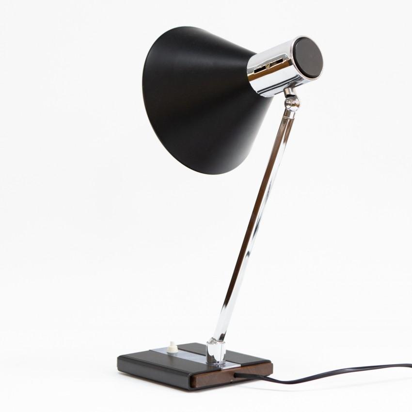 Lampe de bureau noire et chromée