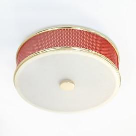 Plafonnier cylindrique en tôle perforée rouge édité par Lunel dans les années 1950