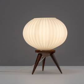Lampe tripode en verre et bois