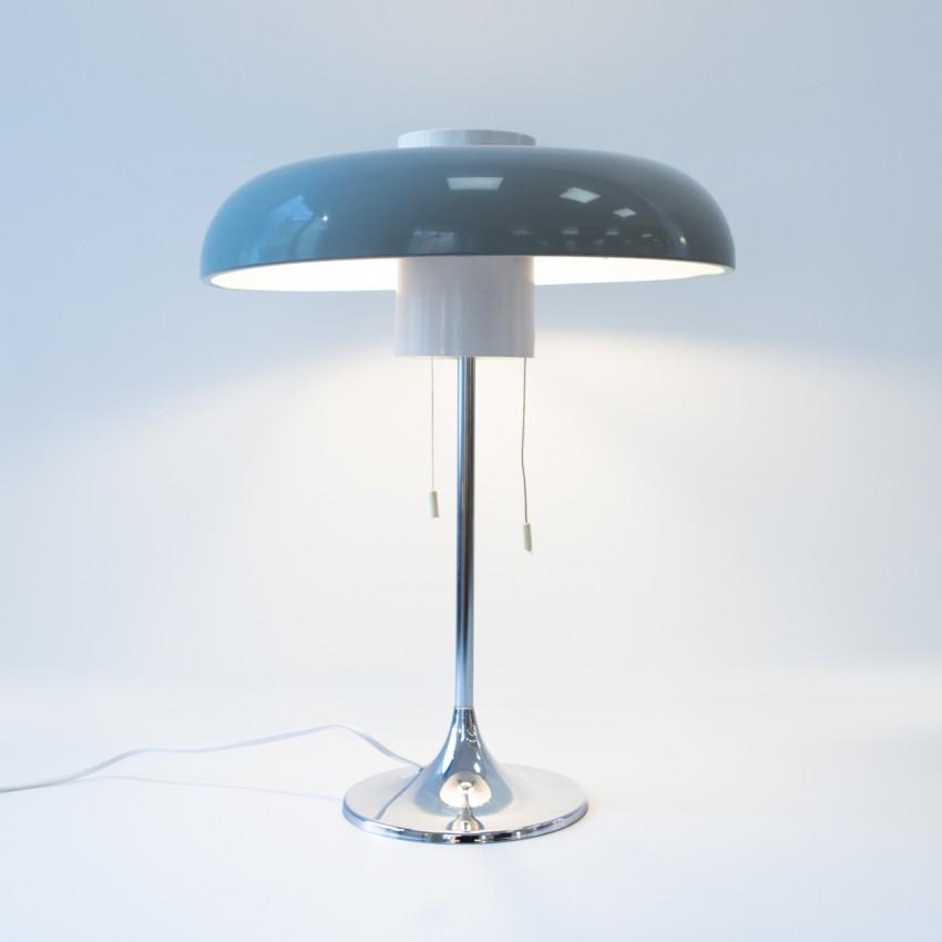 Lampe de bureau Arlus 1213 - Piètement chromé et réflecteur en tôle laquée de gris