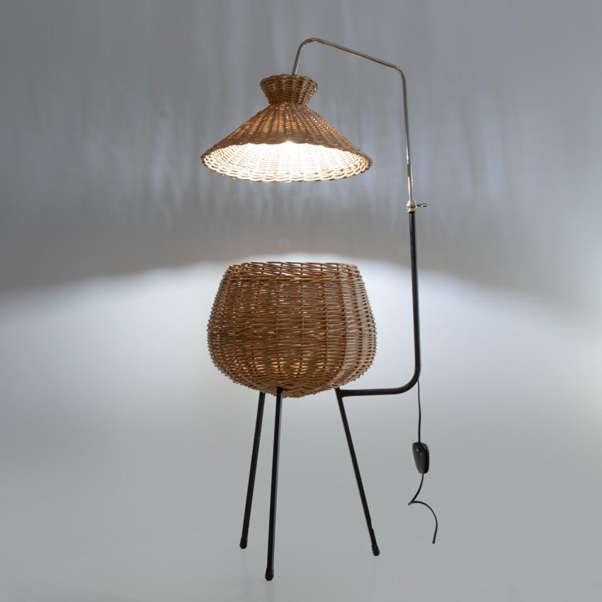Lampadaire travailleuse tripode en rotin Design du 20e siècle