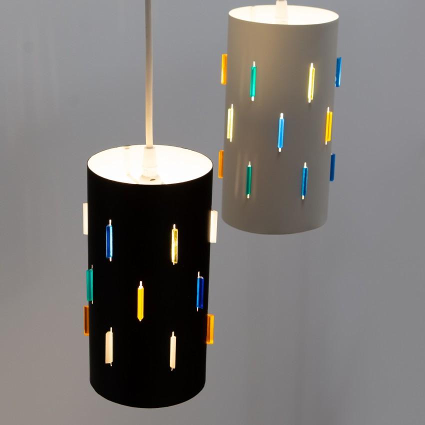 Suspension cylindre métal et résine colorée Interplay