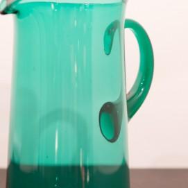 Grand pichet en verre vert vintage