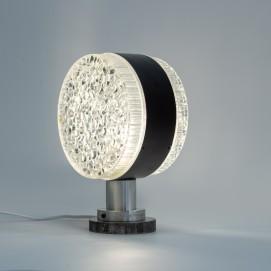 Lampe en verre bullé et métal des années 1960