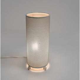 Lampe d'appoint cylindrique en tôle perforée des années 1950