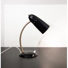 Lampe de bureau noire et laiton des années 1950