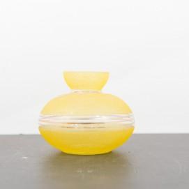 Vase en verre granité jaune et doré des années 1950