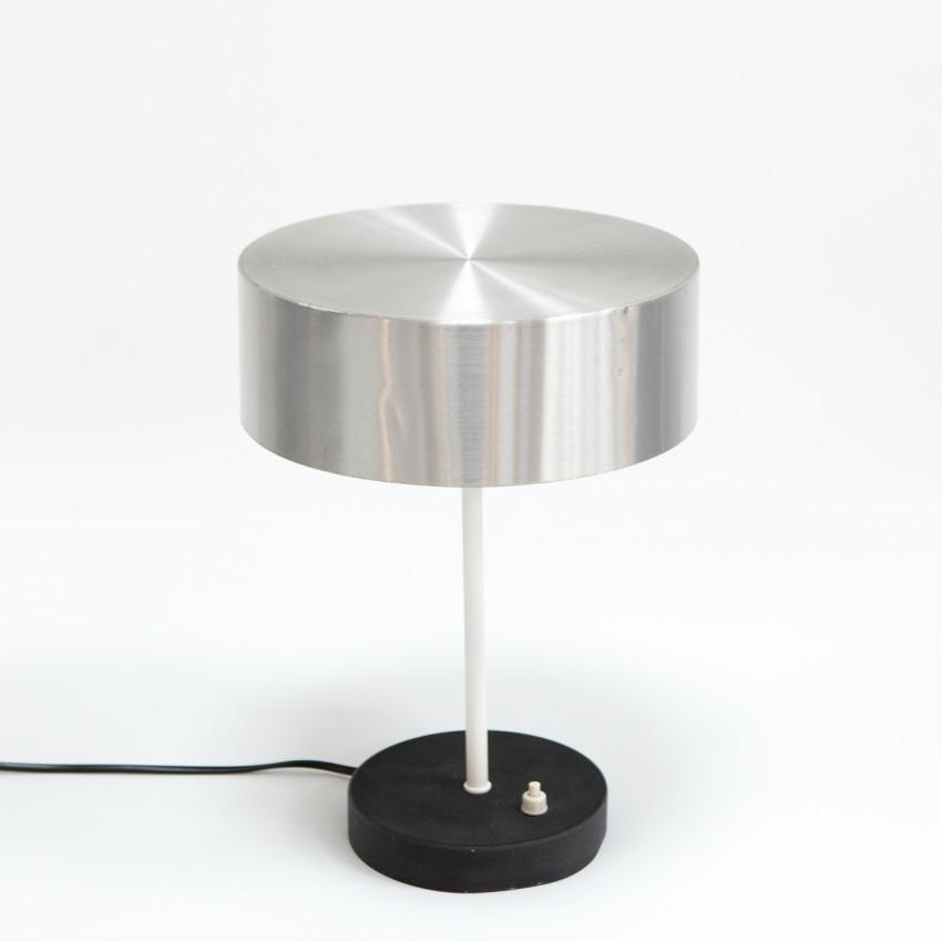 Lampe de bureau des années 1960 avec abat-jour cylindrique en aluminium