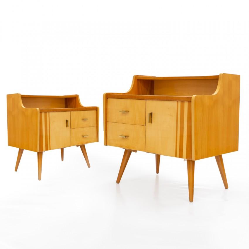 Table de chevet en bois des années 1950