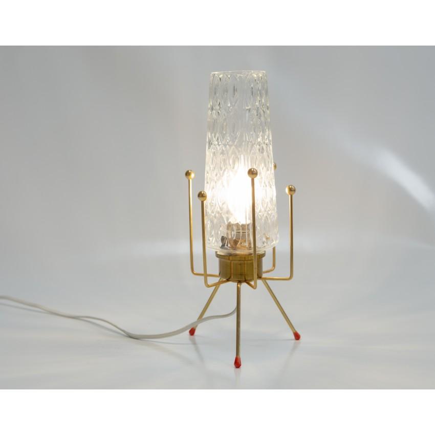 Lampe tripode en verre et laiton des années 1950 boules en laiton