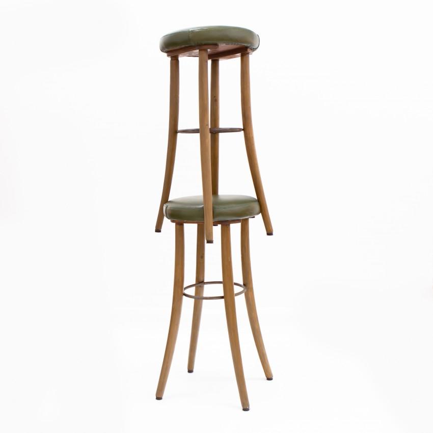 Tabourets de bar en bois cintré des années 1930