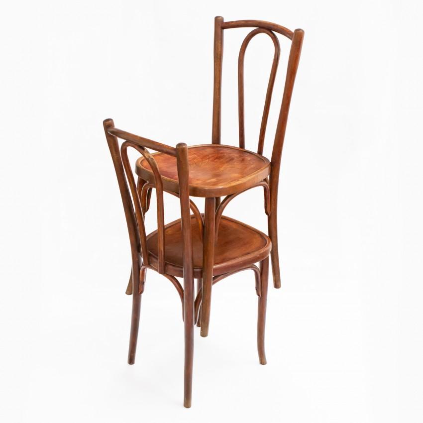 Paire de chaises bistrot en bois courbé - Belle époque