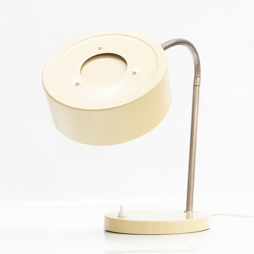 Lampe de bureau au réflecteur cylindrique et au flexible chromé des années 1960
