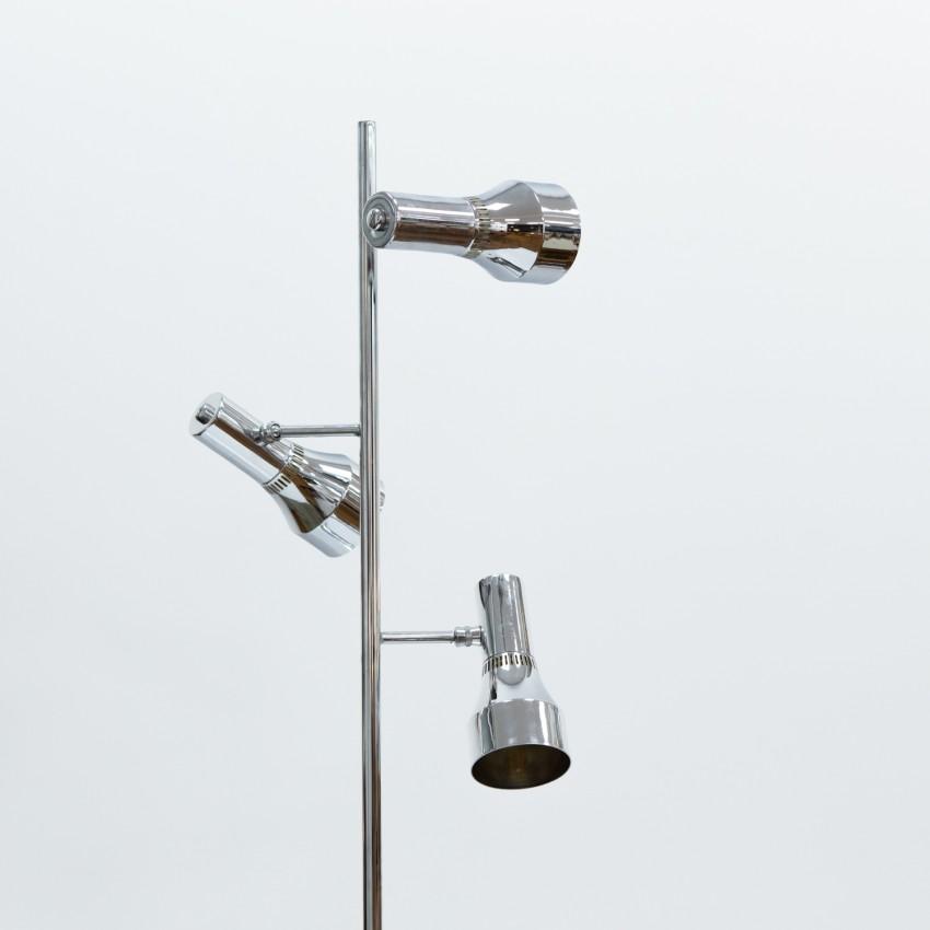 Lampadaire chromé à spots en tôle ajourée des années 1960