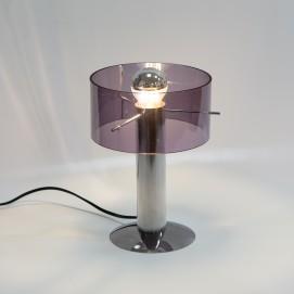 Lampe de bureau cylindrique en métal et Plexiglas des années 1970 - Oxar